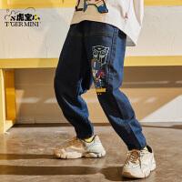 【2件3折:80.7元】男童牛仔长裤儿童春秋2021新款小虎宝儿休闲裤