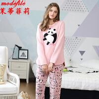茉蒂菲莉 家居服 女士秋冬新品熊猫长袖套头上衣裤子两件套装女式加厚卫衣抓绒时尚睡衣