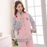 情侣睡衣女冬季夹棉加厚三层珊瑚绒保暖法兰绒男士韩版家居服套装