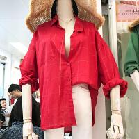韩国ulzzang2018春装新款学生宽松红色格子衬衫女长袖打底衬衣潮