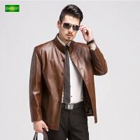 逸纯印品(EASZin)皮衣 男士仿真水洗皮夹克 中老年 立领 单排扣 短款男装外套