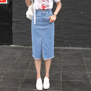 新款韩版系带修身百搭高腰牛仔半身长裙女开叉包臀A字中长裙