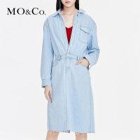 MOCO2019春季新品纯棉翻领收腰牛仔连衣裙MAI1DRS054 摩安珂