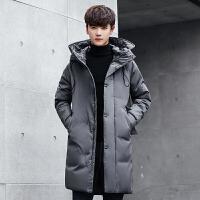 冬季新款潮男士羽绒服男加厚学生轻薄中长款修身款外套男青年