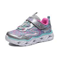 斯凯奇(Skechers)女童时尚跑步鞋魔术贴闪光鞋女童运动鞋 10920N 银色/彩色