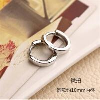 简约气质925纯银光面耳扣男女韩国版小耳环银耳圈防过敏饰品礼物 一对圆形10mm *盒+擦银布