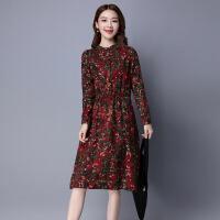 花纹时尚年秋季修身圆领长袖中长款连衣裙
