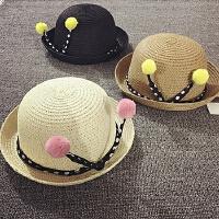 儿童礼帽夏天草帽遮阳帽防晒小圆帽女孩公主帽男宝宝帽子沙滩帽潮