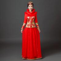 服结婚礼服新娘敬酒服冬天加厚秀和新款修身显瘦冬季旗袍 红色