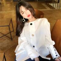 2018春装新款气质纽扣后背抽绳圆领衬衣宽松长袖白色衬衫上衣女装
