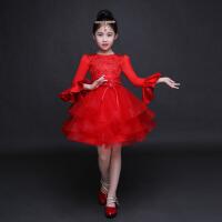 女孩蓬蓬裙花童礼服 厚款儿童礼服长袖公主裙女童礼服连衣裙中大童 红色