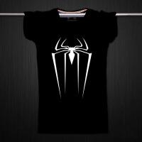 纯棉短袖T恤 经典影视 电影 蜘蛛侠 青少年学生半袖T恤 黑色