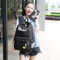 学生帆布双肩包女韩版初中高中生男书包大容量校园小清新百搭背包