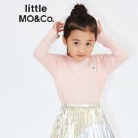 littlemoco男女童小怪兽贴章圆领长袖纯棉T恤KA173TEE202