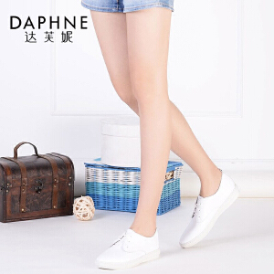 Daphne/达芙妮春夏单鞋 牛皮休闲逛街浅口系带舒适女鞋子