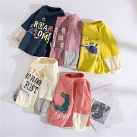 男童t恤长袖春装洋气宝宝假两件恐龙春季2020新款休闲儿童上衣
