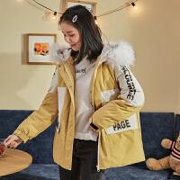 [直降]唐狮冬装新款棉衣女短款拼接工装外套bf潮大毛领宽松韩版