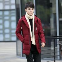 男士棉衣中长款冬季厚外套韩版潮流修身帅气个性潮男袄子冬装 红色8008棉衣 5/M