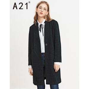以纯线上品牌a21 秋冬新品女装毛呢外套女H型长款呢料单层外套
