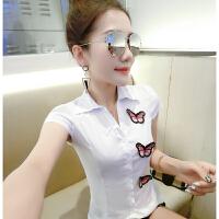 2018夏季新款时尚修身衬衫女短袖翻领白色衬衣百搭上衣服潮