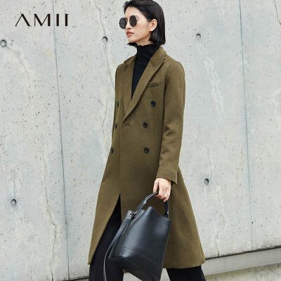 【当当19周年庆,满200减100上不封顶】Amii[极简主义]赫本风双排扣毛呢长外套女2018冬新直筒翻领大衣.