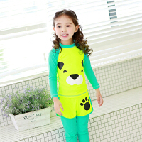韩国儿童分体泳衣女孩长袖晒长裤游泳衣小中大童宝宝男童潜水服