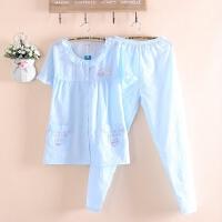 小清新短袖长裤睡衣女式夏季薄款梭织水洗棉布纯色睡衣家居服套装
