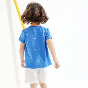 【下单立享5折】amii童装2017夏季男童圆领碎花T恤中大童印花休闲儿童短袖夏装