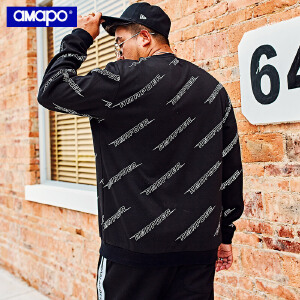 【限时抢购到手价:120元】AMAPO潮牌大码男装秋季字母满印加肥加大码胖子宽松圆领套头卫衣
