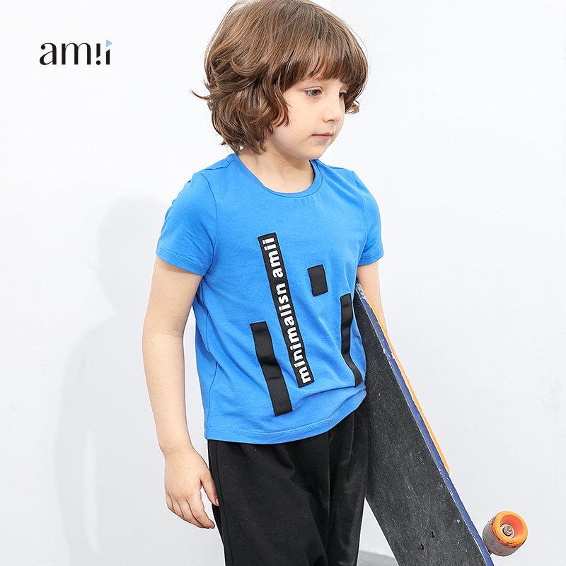 AMII童装男童2017新款中大童夏装儿童t恤短袖T恤印花圆领棉上衣#.