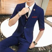 夏季韩版修身七分袖小西装男外套新郎结婚礼服中袖发型师西服套装