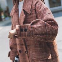 森系呢子外套女中长款秋冬韩版学生宽松加厚复古流行格子大衣 红格