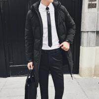冬季鸭绒保暖加厚男士羽绒服中长款潮流迷彩休闲连帽外套