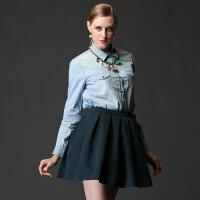2017纯棉牛仔衬衫女士长袖修身衬衣秋装韩版休闲百搭水洗上衣 牛仔蓝