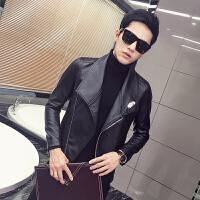 秋季帅气外套修身韩版帅气青年薄款机车潮pu男士皮夹克皮衣男 黑色