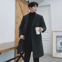 冬季男士中长款呢子大衣韩版修身风衣潮青年毛呢大衣外套加厚妮子