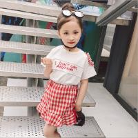 2018夏季韩版新款女童个性字母露肩上衣短袖T恤+红格子半身裙套装