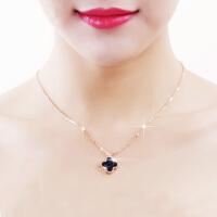 18K玫瑰金色四叶草项链女钛钢简约韩版锁骨链饰品吊坠