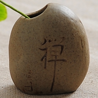【天天】岩泥粗陶台面个性小花插水培花器瓶石头迷你中式摆件