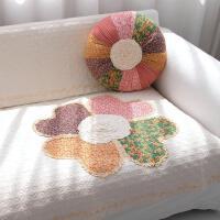 沙发垫布艺棉 绗缝防滑 田园沙发坐垫韩式沙发巾 桃心米花白
