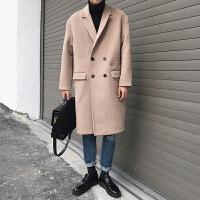 秋冬季男士风衣中长款毛呢大衣男韩版 青年帅气修身呢子外套 卡 M