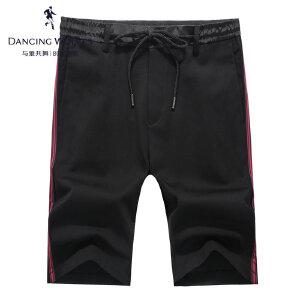 与狼共舞针织短裤2017夏季新款织带条纹抽绳男士薄运动五分裤4257