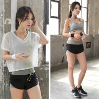 瑜伽服套装女健身服女网纱罩衫跑步运动套装女三件套