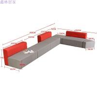 现代时尚办公沙发简约大厅接待区休闲会客创意布艺转角沙发组合