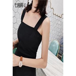 秋装新款时尚基础款黑色修身弹力显瘦内搭外穿宽吊带背心女潮