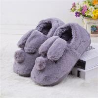 冬季保暖兔子棉鞋吹气底加厚防滑居家鞋月子鞋棉拖鞋CCZ 灰色