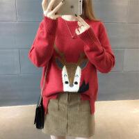 套头宽松毛衣女可爱韩版潮秋冬装上衣打底针织衫圆领 均码