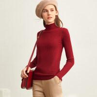 【到手价:136元】Amii修身薄款高领纯羊毛针织衫女2019秋季新款黑色长袖打底衫毛衣