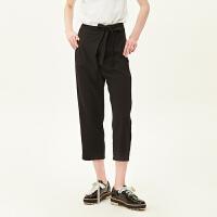 活动到手价111丨红袖/HOPESHOW黑色系带七分锥形裤