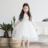 韩国童装2018春夏新款韩版女童蕾丝网纱连衣裙中大童公主裙演出服